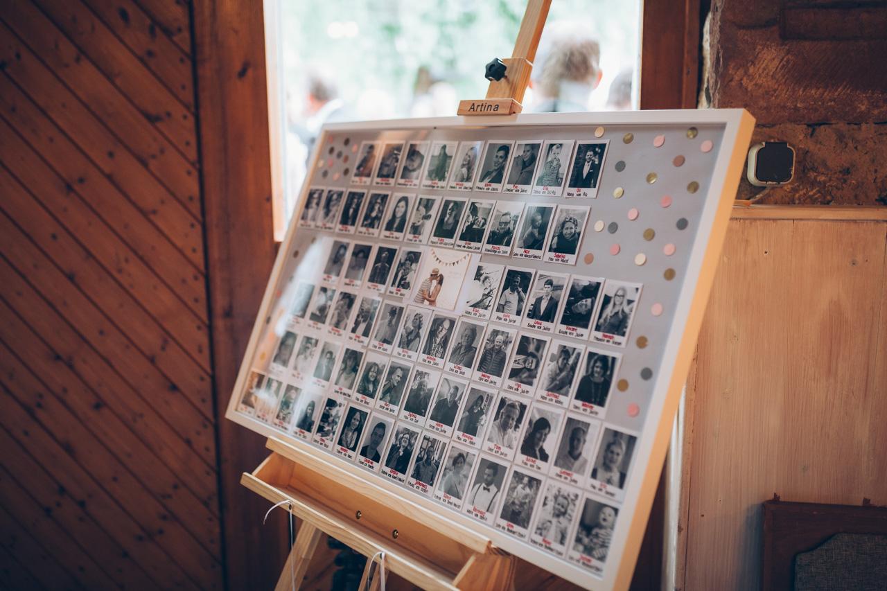 Sitzplan Hochzeit mit Bildern der Gäste